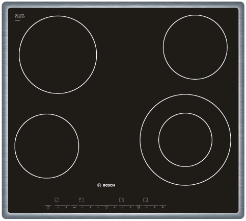 Varná deska sklo. Bosch PKF 645T14 nerez