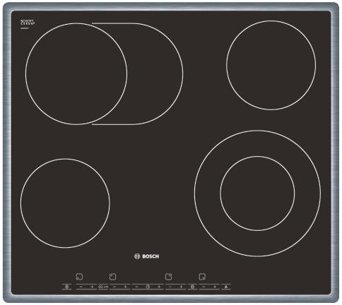 Varná deska sklo. Bosch PKN 645T14 nerez